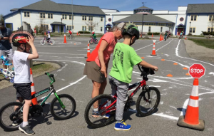 kids learning bike safety