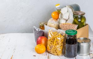 Stack of nonperishable food items