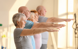 Elderly group exercising